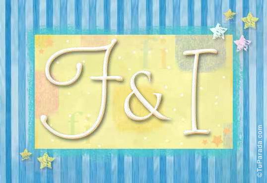 Tarjeta de iniciales F - I