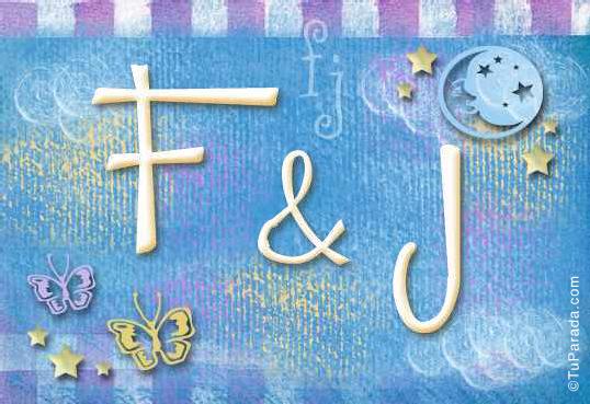 Tarjeta de iniciales F - J