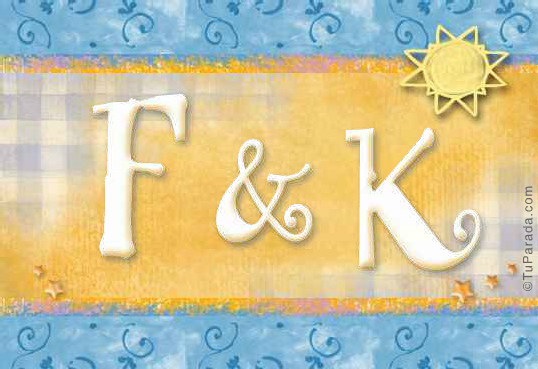 Tarjeta de iniciales F - K