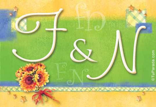 Tarjeta de iniciales F - N