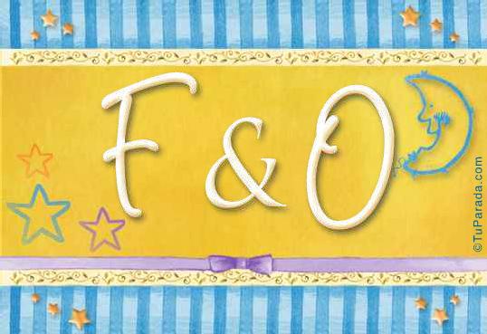 Tarjeta de iniciales F - O