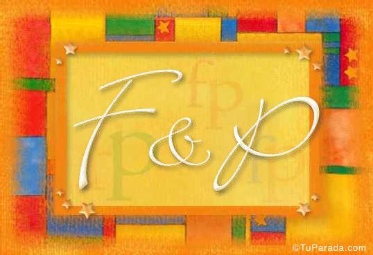 Tarjeta de iniciales F - P