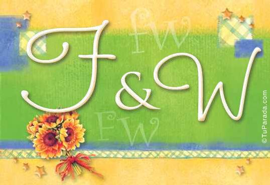 Tarjeta de iniciales F - W