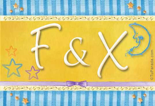 Tarjeta de iniciales F - X