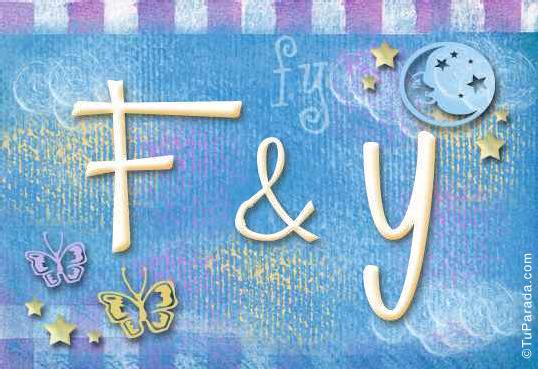 Tarjeta de iniciales F - Y