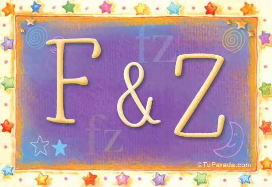 Tarjeta de iniciales F - Z