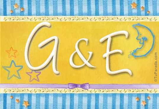 Tarjeta de iniciales G - E