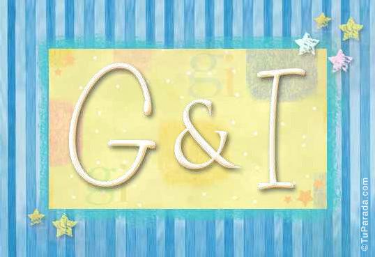 Tarjeta de iniciales G - I