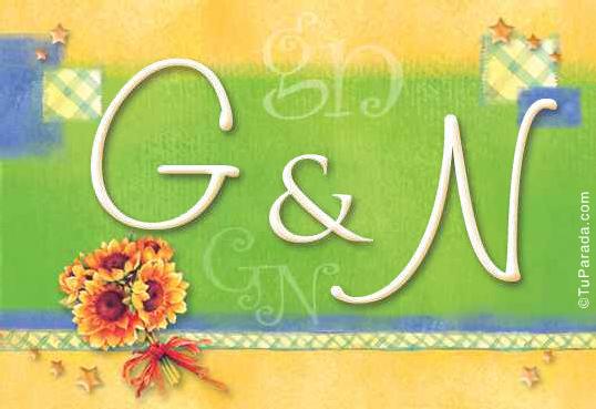 Tarjeta de iniciales G - N