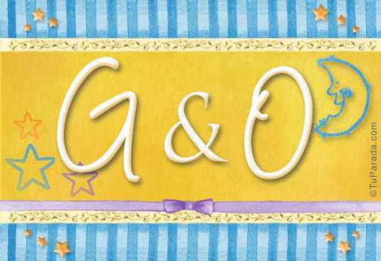 Tarjeta de iniciales G - O