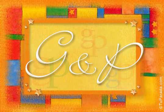 Tarjeta de iniciales G - P