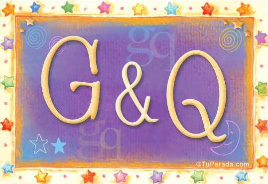 Tarjeta de iniciales G - Q