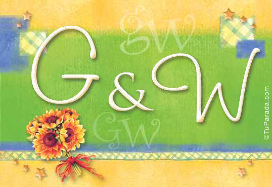 Tarjeta de iniciales G - W