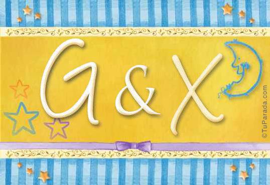 Tarjeta de iniciales G - X