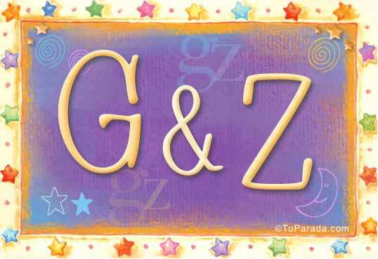Tarjeta de iniciales G - Z