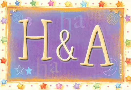 Tarjeta de iniciales H - A