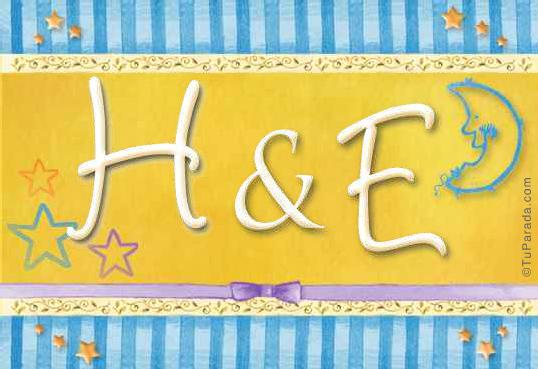 Tarjeta de iniciales H - E