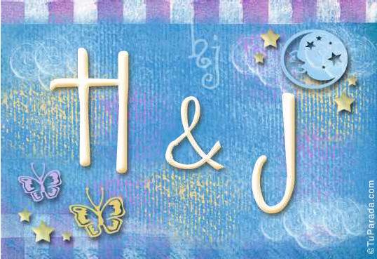 Tarjeta de iniciales H - J