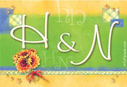 Tarjeta de iniciales H - N