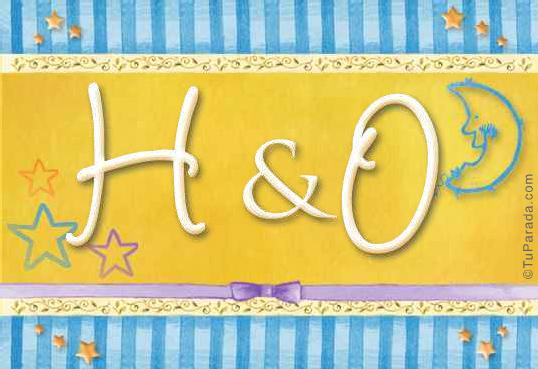 Tarjeta de iniciales H - O