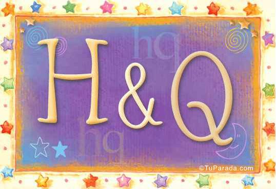 Tarjeta de iniciales H - Q