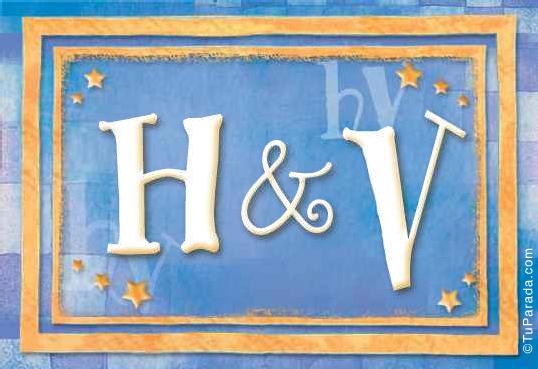 Tarjeta de iniciales H - V