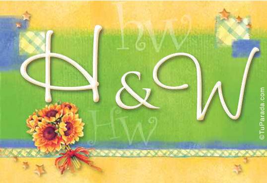 Tarjeta de iniciales H - W