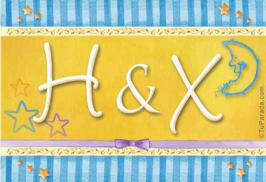 Tarjeta de iniciales H - X