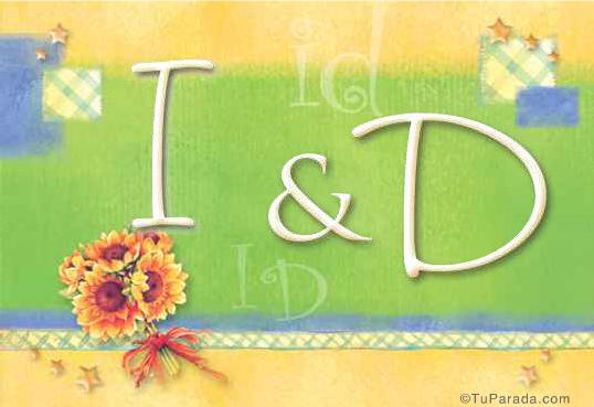 Tarjeta de iniciales I - D