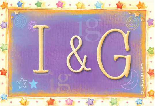 Tarjeta de iniciales I - G