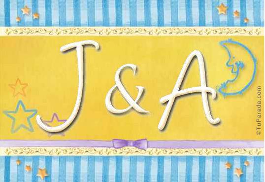 Tarjeta de iniciales J - A