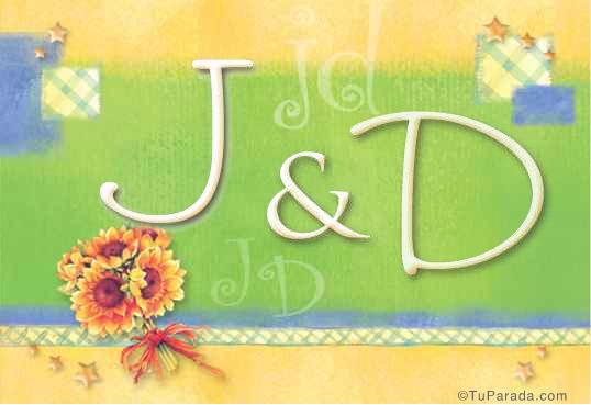 Tarjeta de iniciales J - D