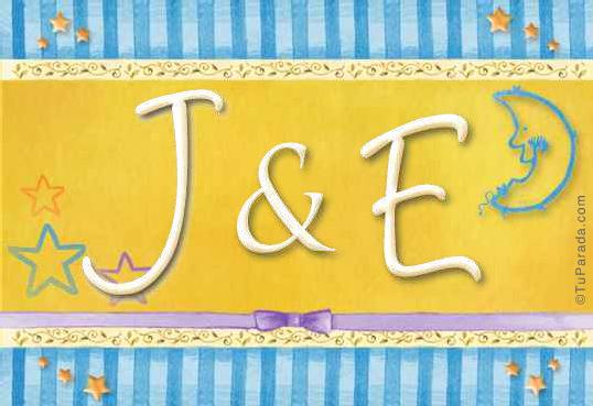 Tarjeta de iniciales J - E