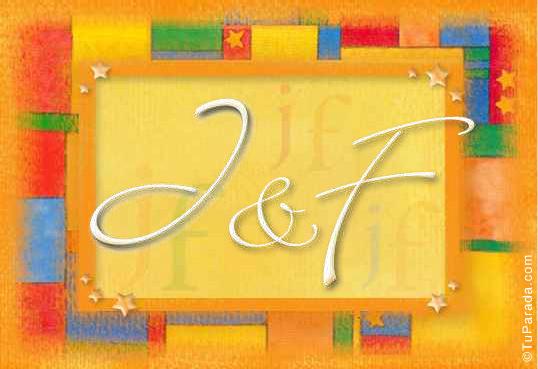 Tarjeta de iniciales J - F