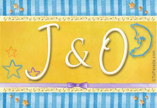 Tarjeta de iniciales J - O