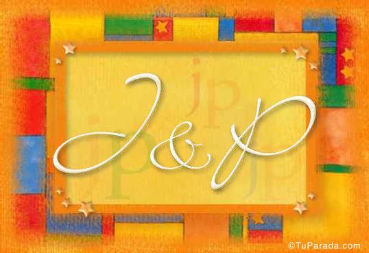 Tarjeta de iniciales J - P