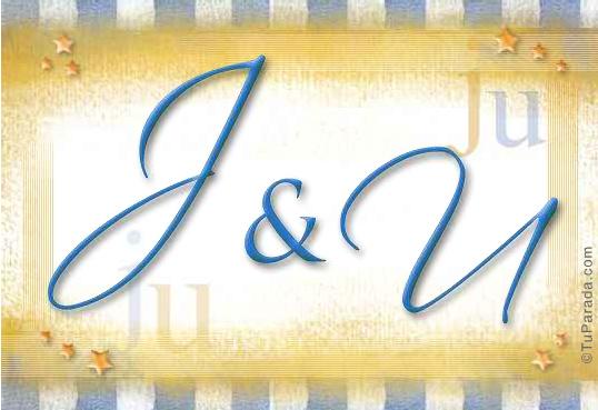Tarjeta de iniciales J - U