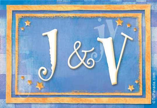 Tarjeta de iniciales J - V