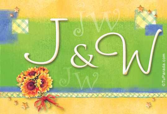 Tarjeta de iniciales J - W