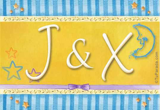 Tarjeta de iniciales J - X