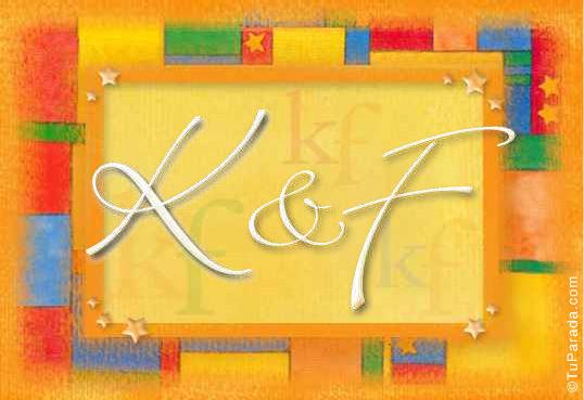 Tarjeta de iniciales K - F