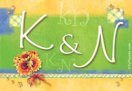 Tarjeta de iniciales K - N