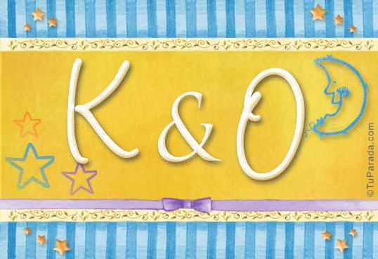 Tarjeta de iniciales K - O
