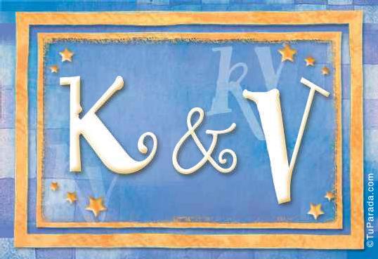 Tarjeta de iniciales K - V