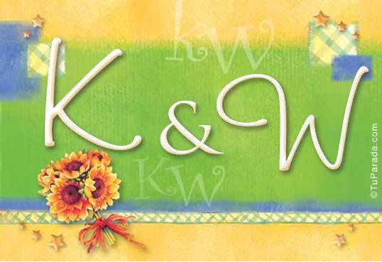 Tarjeta de iniciales K - W