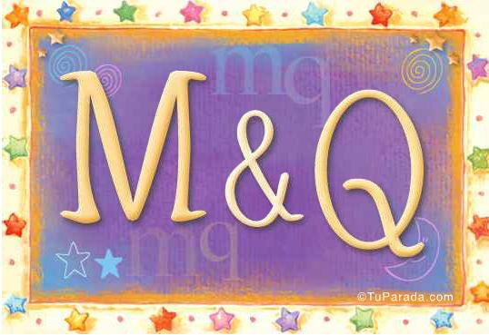 Tarjeta de iniciales M - Q