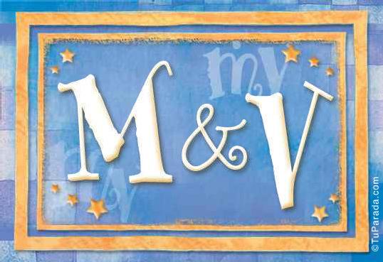Tarjeta de iniciales M - V