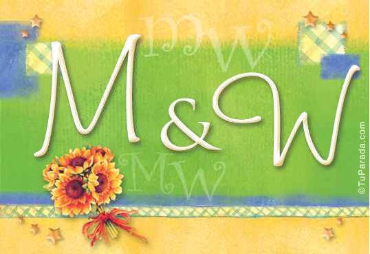 Tarjeta de iniciales M - W