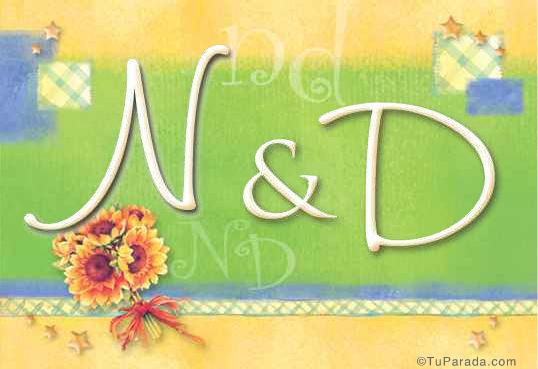 Tarjeta de iniciales N - D