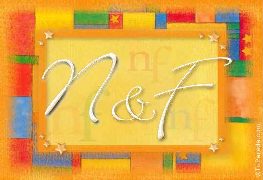 Tarjeta de iniciales N - F